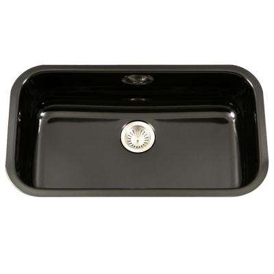 Superbe Porcela Series Undermount Porcelain Enamel Steel 31 In. Large Single Bowl Kitchen  Sink In Black