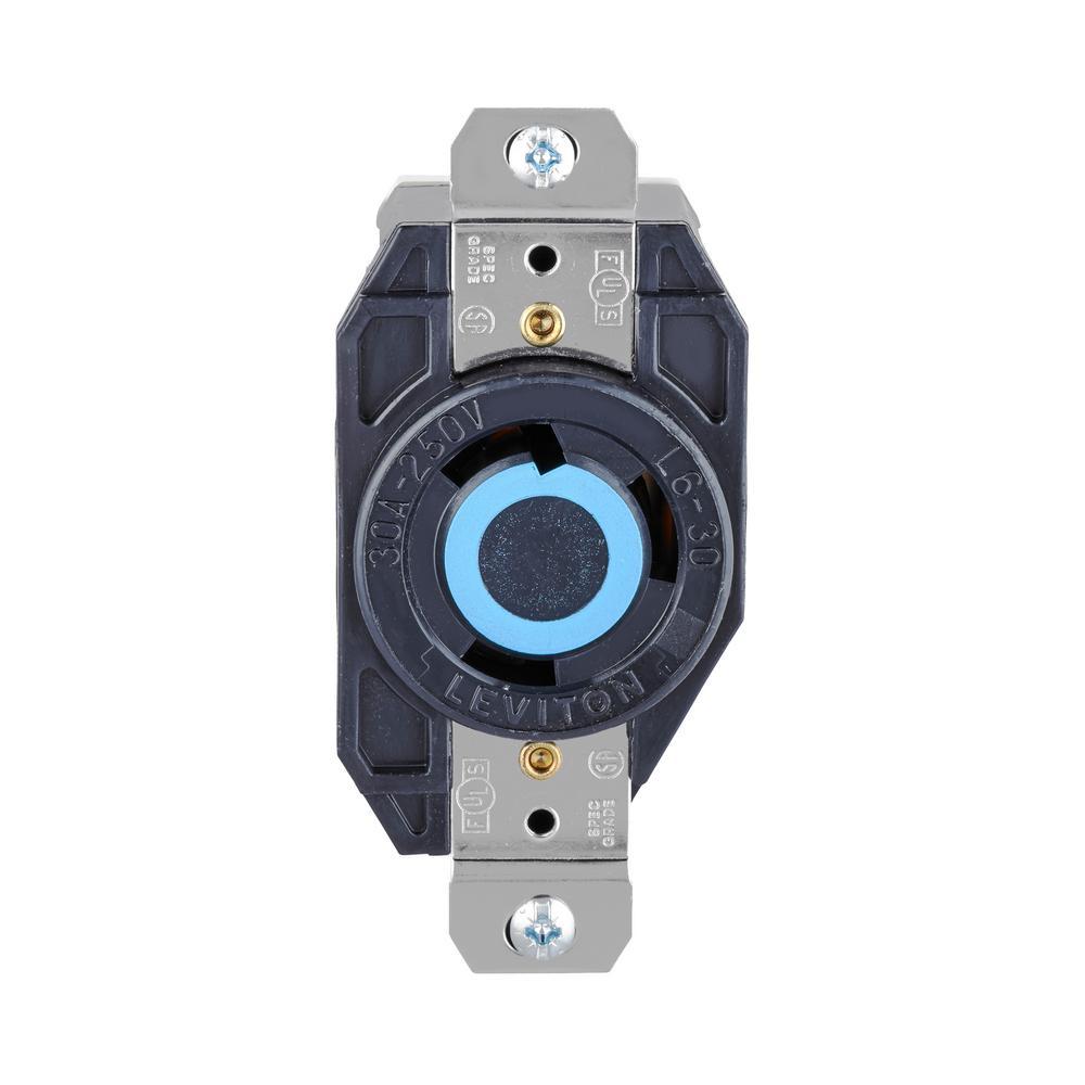 30 Amp 250-Volt 3-Wire Locking Single Outlet, Black