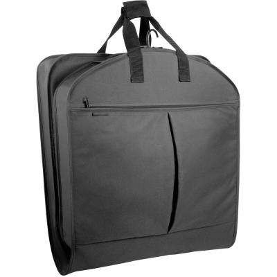 45 in. Black Suit Length Carry-On XL Garment Bag with 2-Pockets and Extra Capacity