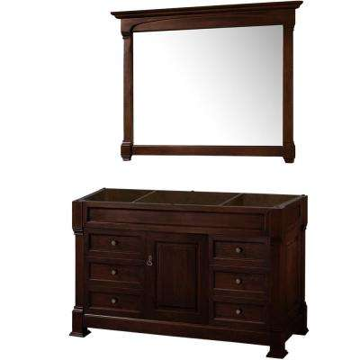 Andover 55 in. W x 22.25 in. D Bath Vanity Cabinet Only with Mirror in Dark Cherry