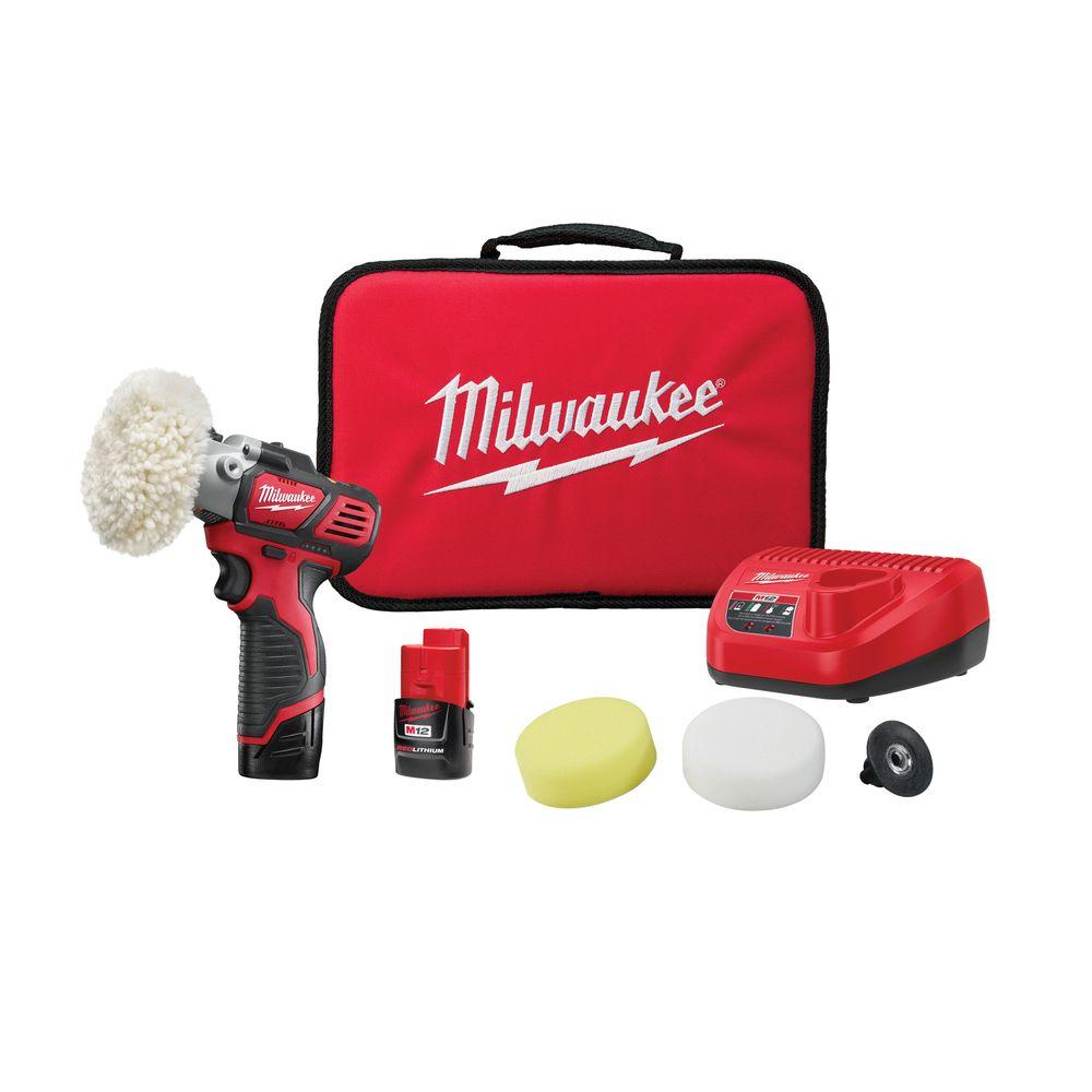 Milwaukee M12 12-Volt Lithium-Ion Cordless Variable Speed Polisher/Sander Kit W/(2) 1.5Ah Battery, Accessories, Charger & Tool Bag