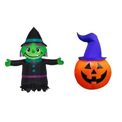3.5 ft. Pre-lit Inflatable Combo Set Witch/ Scary Pumpkin Airblown
