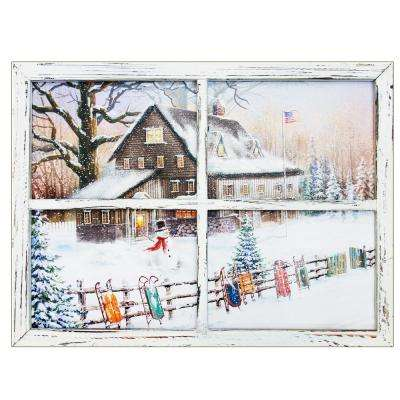 """Snowman with sleds"" by Opportunities Canvas Wall Art"