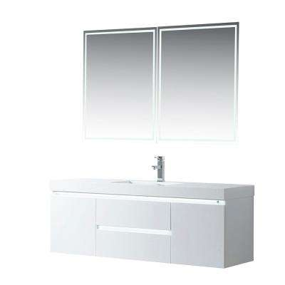 Annecy 60 in. W x 18.5 in. D x 20 in. H Bathroom Wall Hung LED Vanity in White w/ Single Basin Vanity Top in White Resin