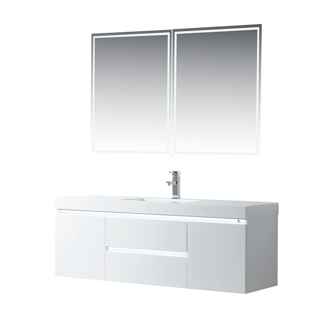 Annecy 60 in. W x 18.5 in. D x 20 in. H Bathroom Wall Hung LED Vanity in White w/ Single Basin Vanity Top in White Resin
