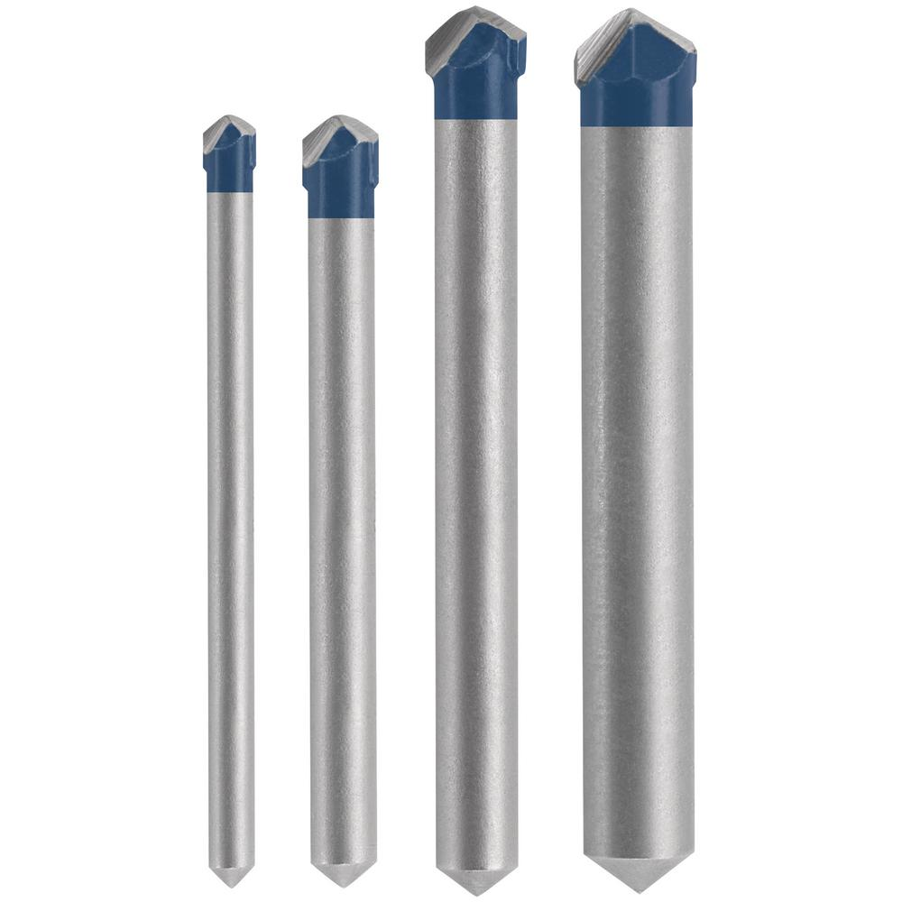 Bosch Robust Carbide Head 4-pack 2-in L Round Shank Rotary Masonry Drill Bit Set