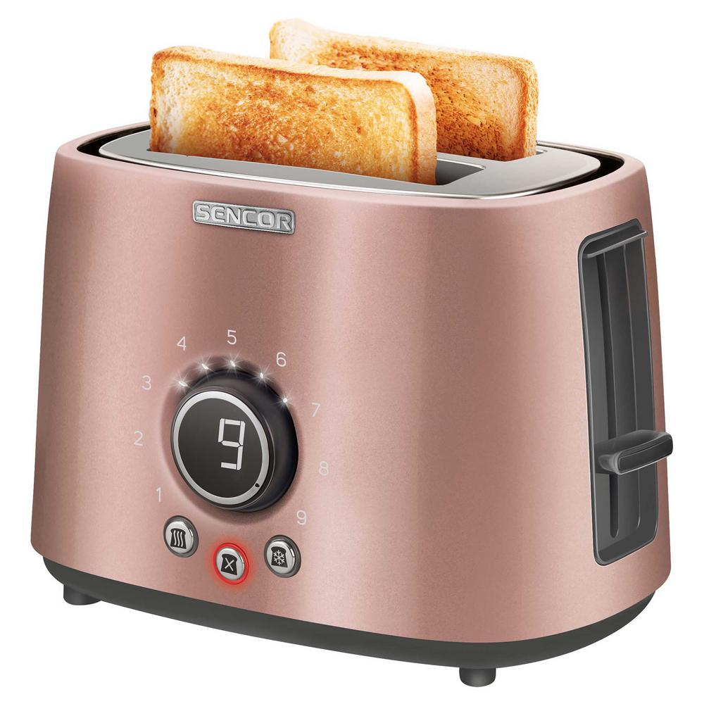 800-Watts 2 Slice Pink Long Slot Toaster with Rack