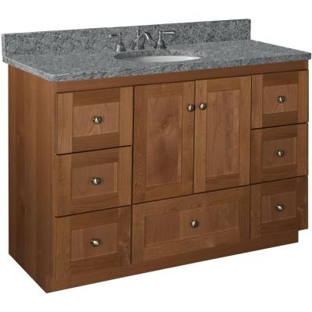 Shaker 48 in. W x 21 in. D x 34.5 in. H Vanity Cabinet Only in Medium Alder