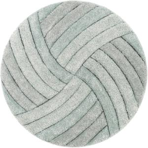 San Francisco UCCI Blue Modern Geometric Stripes 5 ft. 3 in. x 5 ft. 3 in. 3D Carved Shag Round Area Rug
