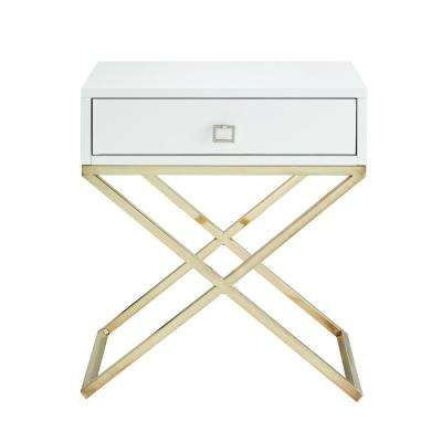 Laila Square Lacquered White/Gold Metal X-Leg Nightstand