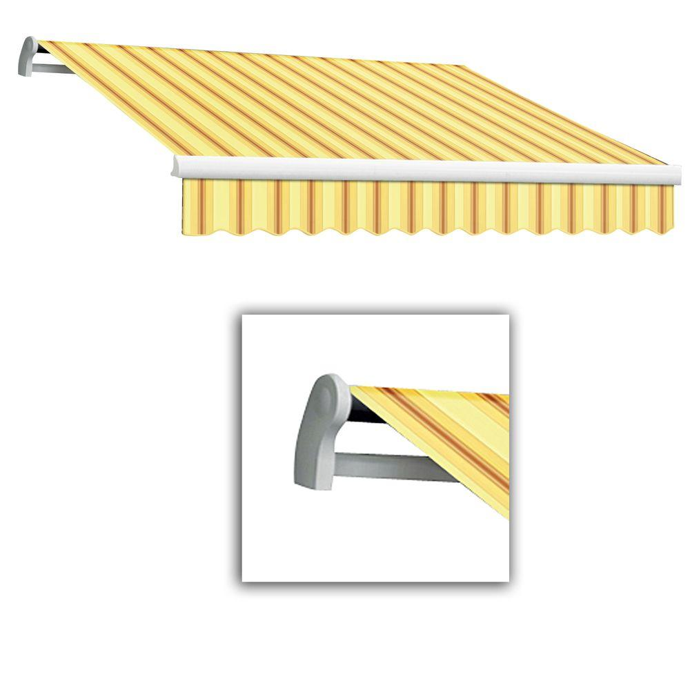 AWNTECH 10 ft. Maui-LX Left Motor Retractable Acrylic Awning with Remote (96 in. Projection) in Yellow/Terra
