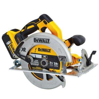 20-Volt MAX XR Lithium-Ion Cordless 7-1/4 in. Circular Saw with Battery 5Ah, Charger and Contractor Bag