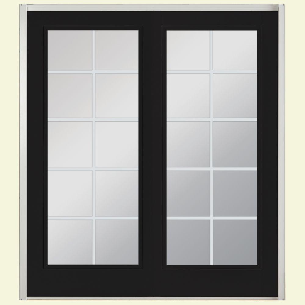 72 in. x 80 in. Jet Black Prehung Right-Hand Inswing 10 Lite Fiberglass Patio Door with No Brickmold