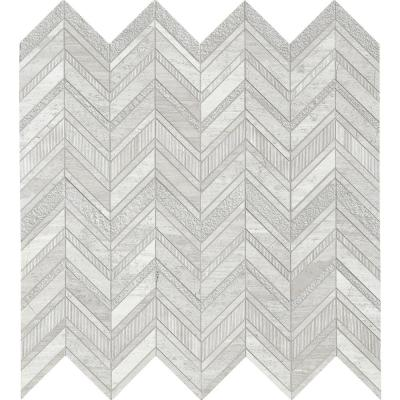 White Quarry Chevron 12 in. x 12 in. x 10mm Textured Marble Mesh-Mounted Mosaic Tile (10 sq. ft. / case)