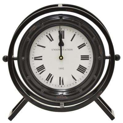 13.5 in. Table Top Clock in Black Finished Metal