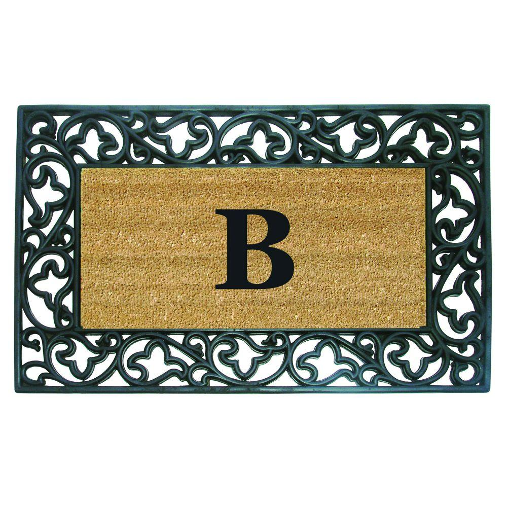 Acanthus Border 22 in. x 36 in. Rubber Coir Monogrammed B