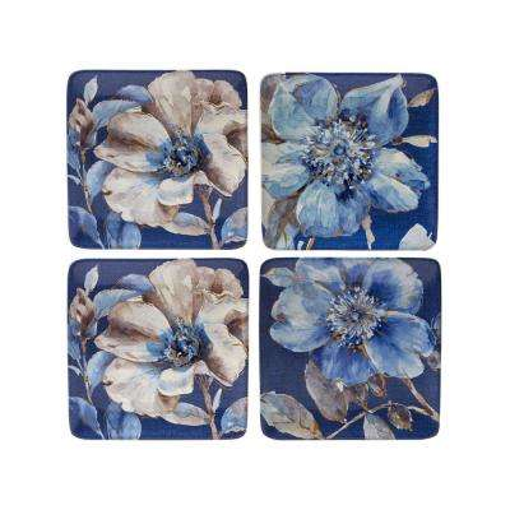Indigold Blue 8.75 in. Flower Dessert Plate (Set of 4)