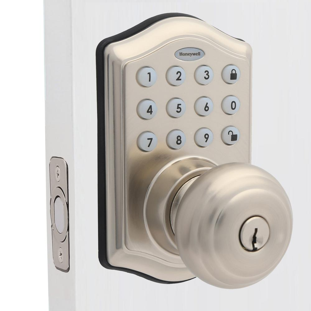 Satin Nickel Keypad Electronic Knob Entry Door Lock with Alarm