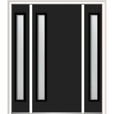 60 in. x 80 in. Viola Right-Hand Inswing 1-Lite Frosted Modern Painted Steel Prehung Front Door with Sidelites