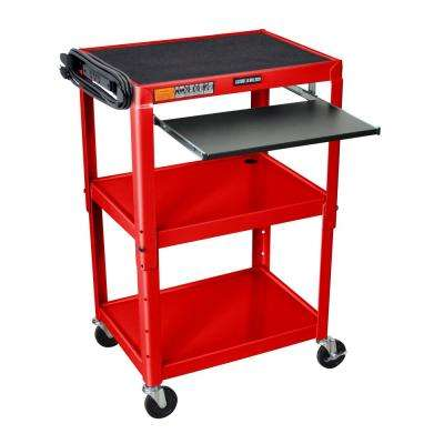Adjustable Height 24 in. Steel A/V Cart with Pullout Tray in Red