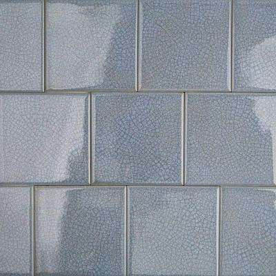 Roman Selection Iced Blue 4 in. x 4 in. x 8 mm Glass Mosaic Tile
