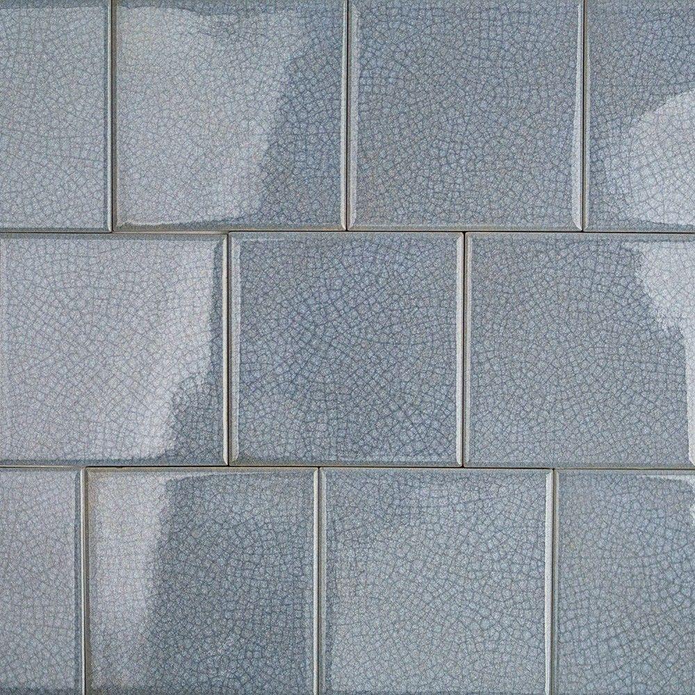Splashback Tile Roman Selection Iced Blue Glass Mosaic Tile - 4 in ...