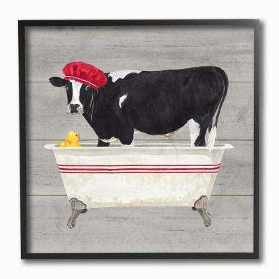 "12 in. x 12 in. ""Bath Time For Cows at Tub Red Black and Grey Painting"" by Tara Reed Framed Wall Art"