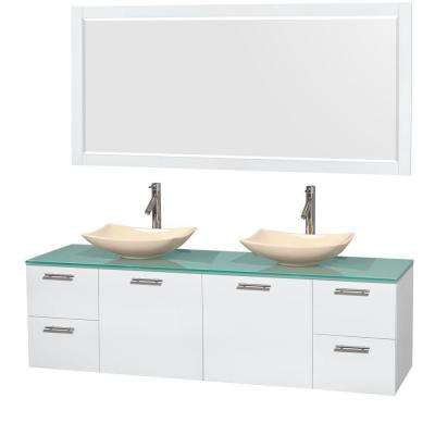 Amare 72 in. Double Vanity in Glossy White with Glass Vanity Top in Green, Marble Sinks and 70 in. Mirror