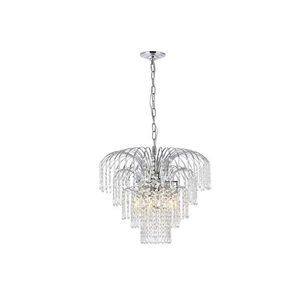 Timeless Home 21 in. L x 21 in. W x 18 in. H 6-Light Chrome Transitional Chandelier with Clear Crystal
