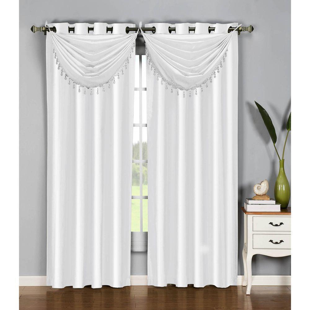 36 in. W x 37 in. L Jane Faux Silk Grommet Waterfall Window Valance in White