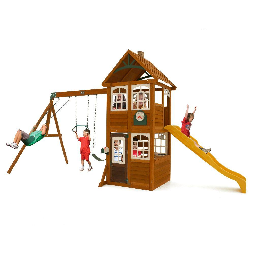 Cedar Summit Willowbrook Wooden Playset / Swing Set, Browns/Tans