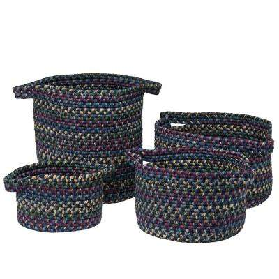 Vintage Farmhouse Round Polypropylene Basket Midnight (Set of 3)