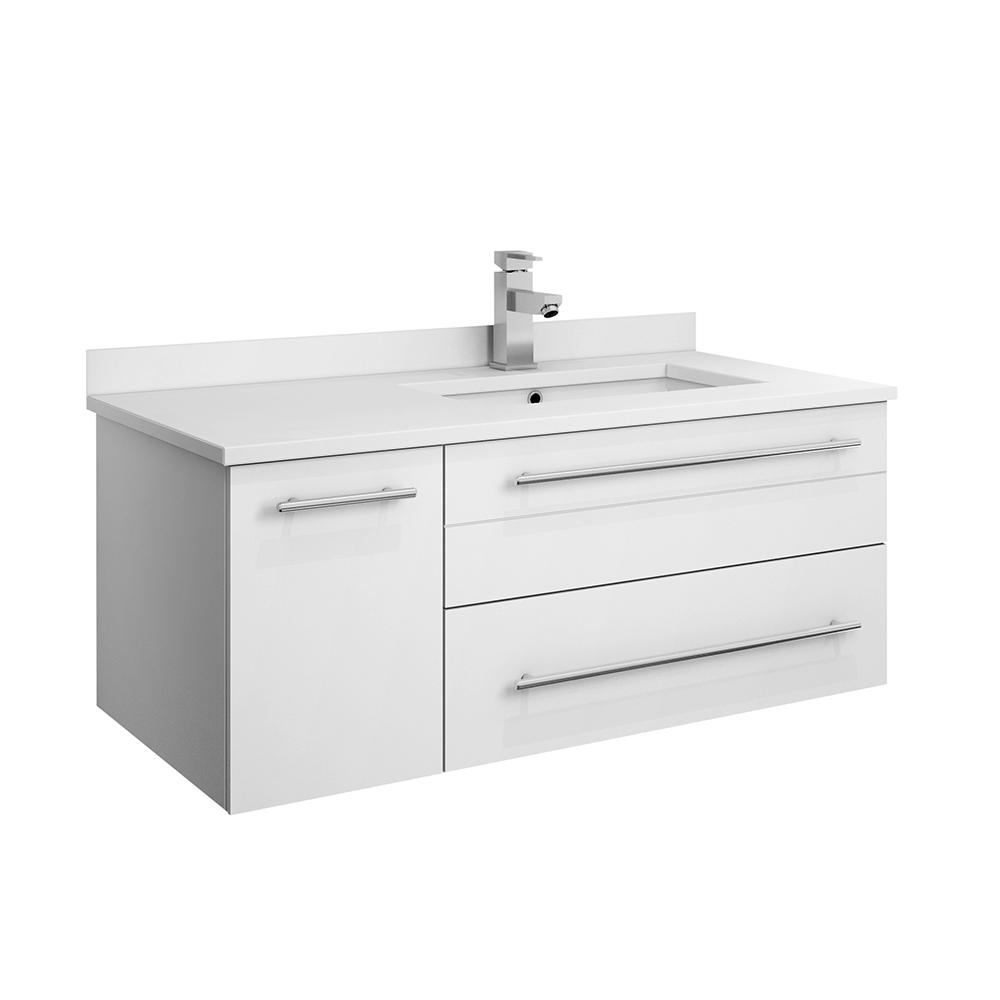 Fresca Lucera 36 in. W Wall Hung Bath Vanity in White with Quartz Stone Vanity Top in White with White Basin