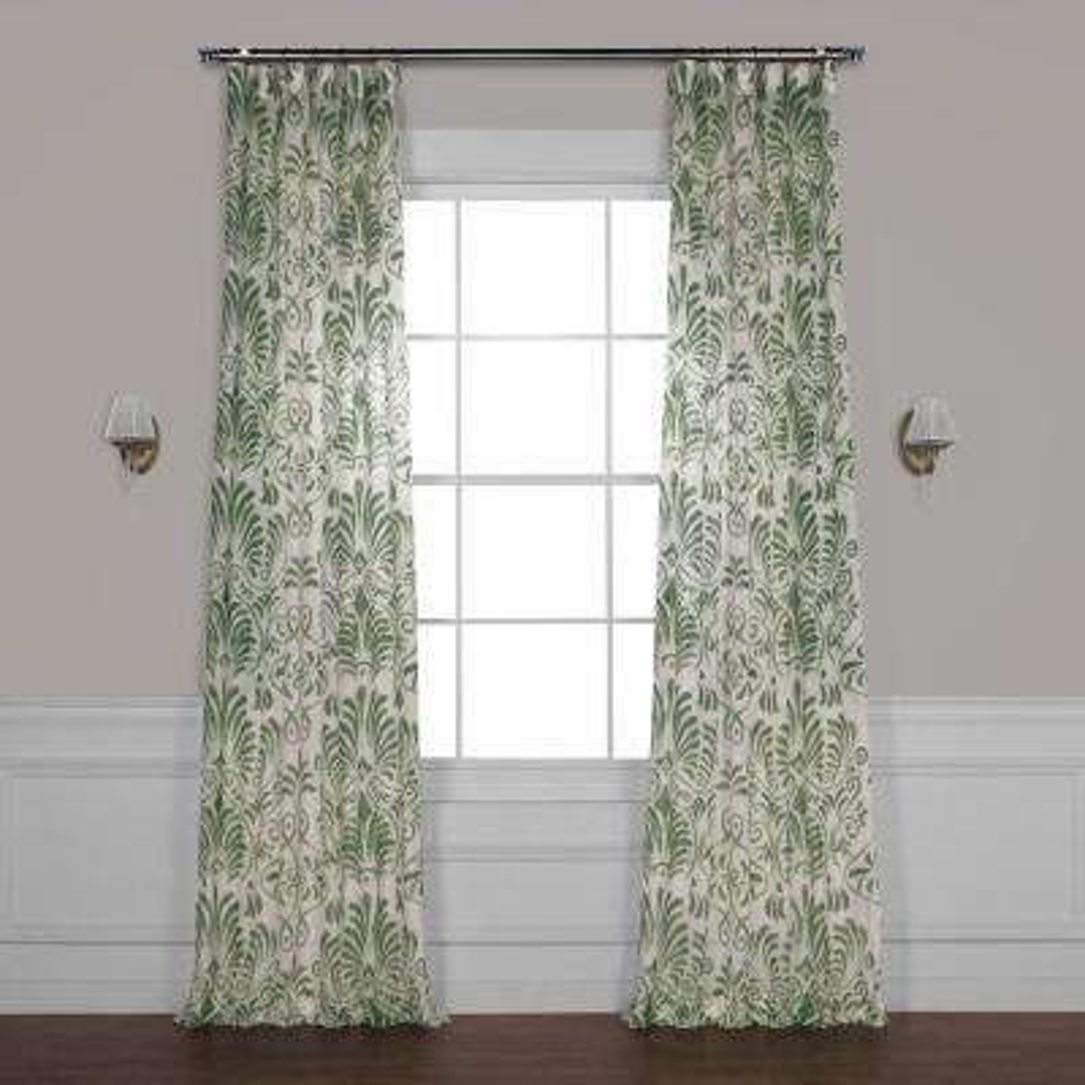 Xenia Green Printed Sheer Curtain - 50 in. W x 108 in. L