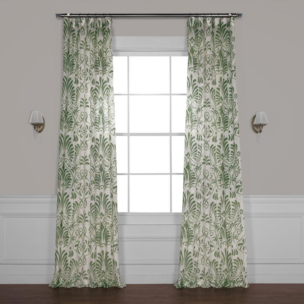 Xenia Green Printed Sheer Curtain - 50 in. W x 96 in. L