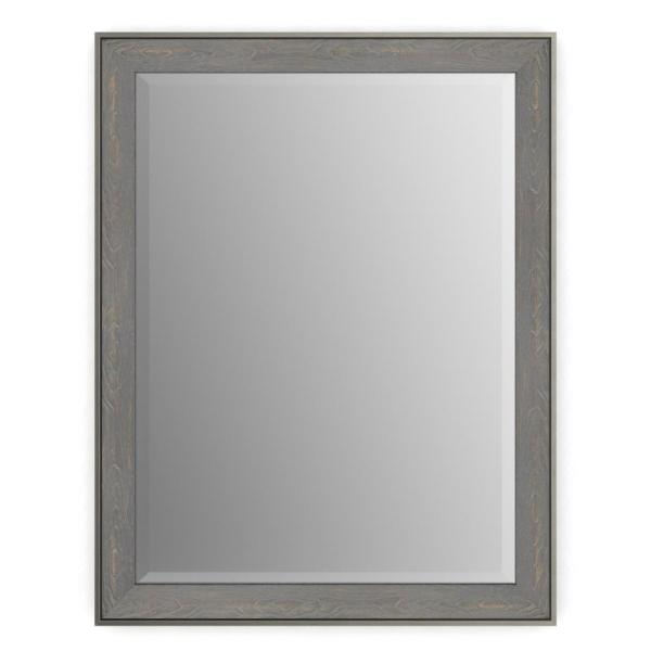 28 in. W x 36 in. H (M1) Framed Rectangular Deluxe Glass Bathroom Vanity Mirror in Weathered Wood