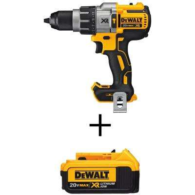 1/2 in. 20-Volt MAX XR Lithium-Ion Cordless Premium Brushless Hammer Drill with Bonus Premium Battery Pack 4.0 Ah