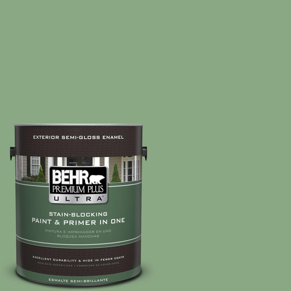 BEHR Premium Plus Ultra 1-gal. #M400-5 Baby Spinach Semi-Gloss Enamel Exterior Paint