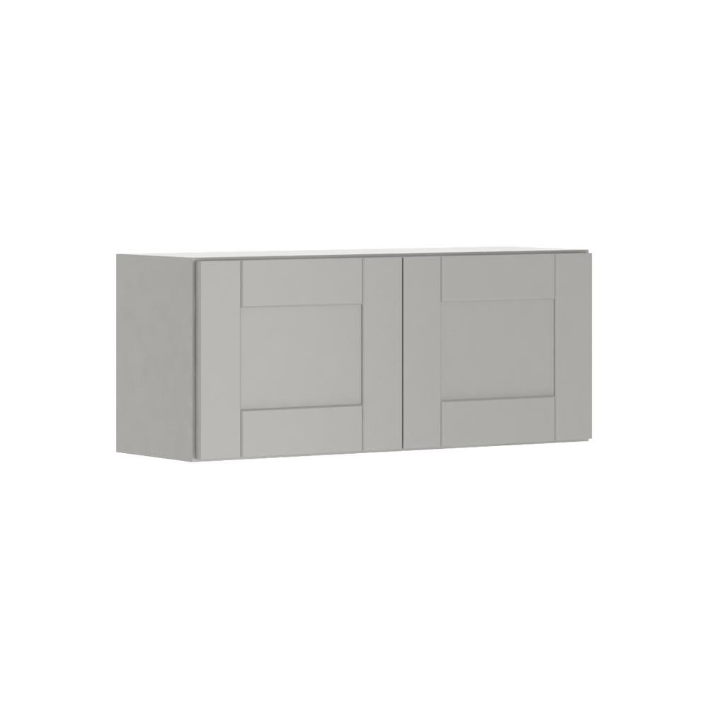 Princeton Shaker Assembled 36x15x12 in. Wall Bridge Cabinet in Warm Gray
