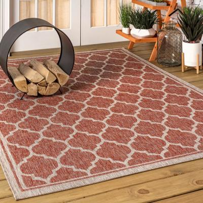 Trebol Moroccan Trellis Red/Beige 5 ft. 3 in. x 7 ft. 7 in. Textured Weave Indoor/Outdoor Area Rug