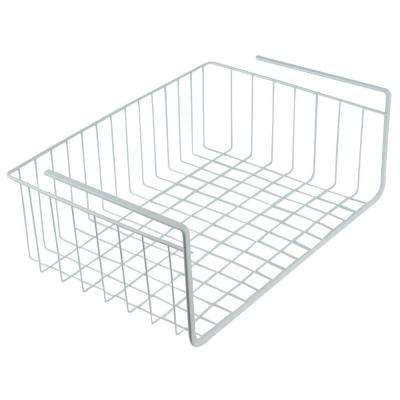 15 in. White Wire Under Shelf Storage Organization Basket