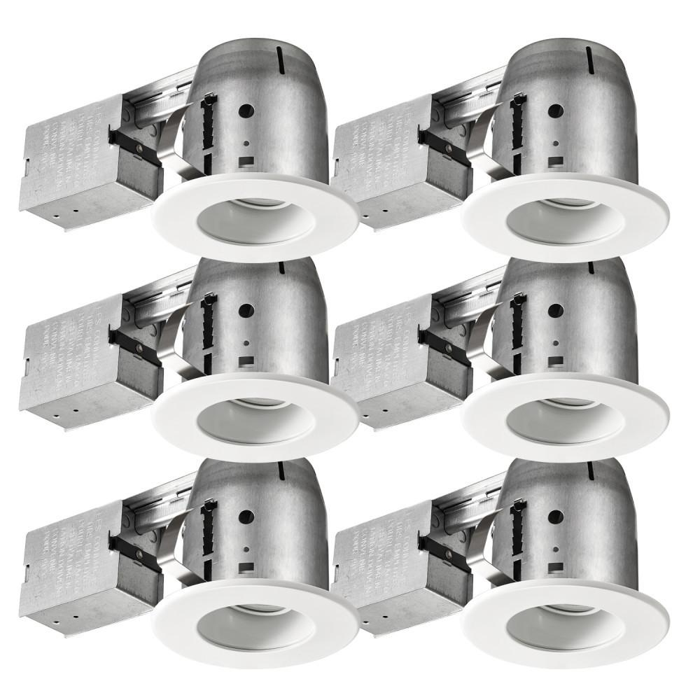 Commercial Electric 4 In White Led Ic Rated Swivel Baffle