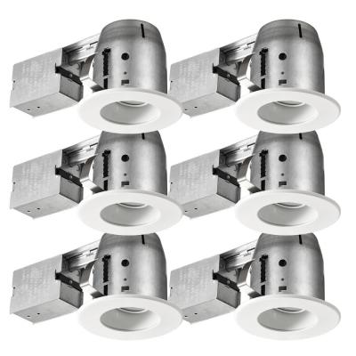 Swivel Baffle Series 4 in. New Construction And Remodel White Recessed Kit (6-Pack)