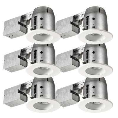 4 in. White LED IC Rated Swivel Baffle Round Trim Recessed Lighting Kit, LED Bulbs Included (6-Pack)