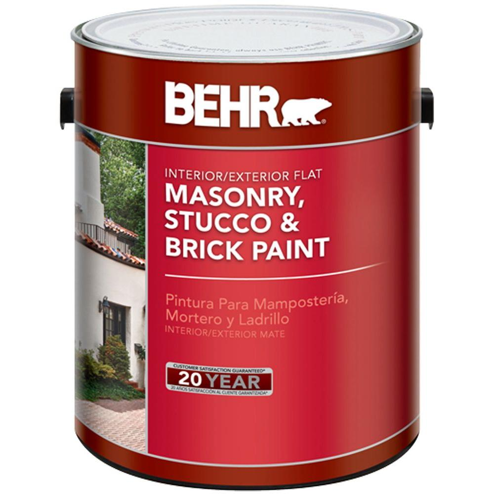Behr 1 Gal White Flat Masonry Stucco And Brick Interior