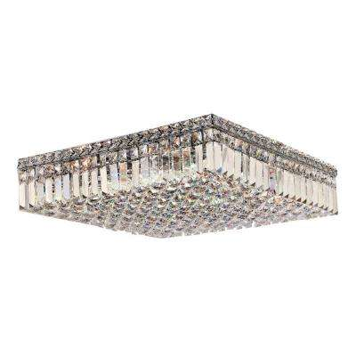 Cascade Collection 12-Light Chrome and Crystal Flush Mount