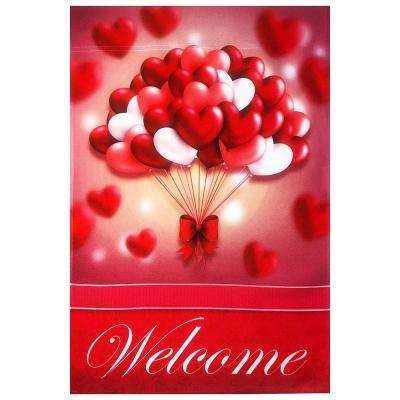 1 ft. x 1.5 ft. Happy Valentine's Day Heart Balloons Welcome Flag