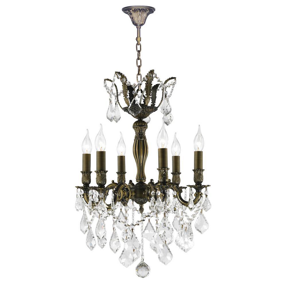 Versailles 6-Light Antique Bronze with Clear Crystals Medium Chandelier