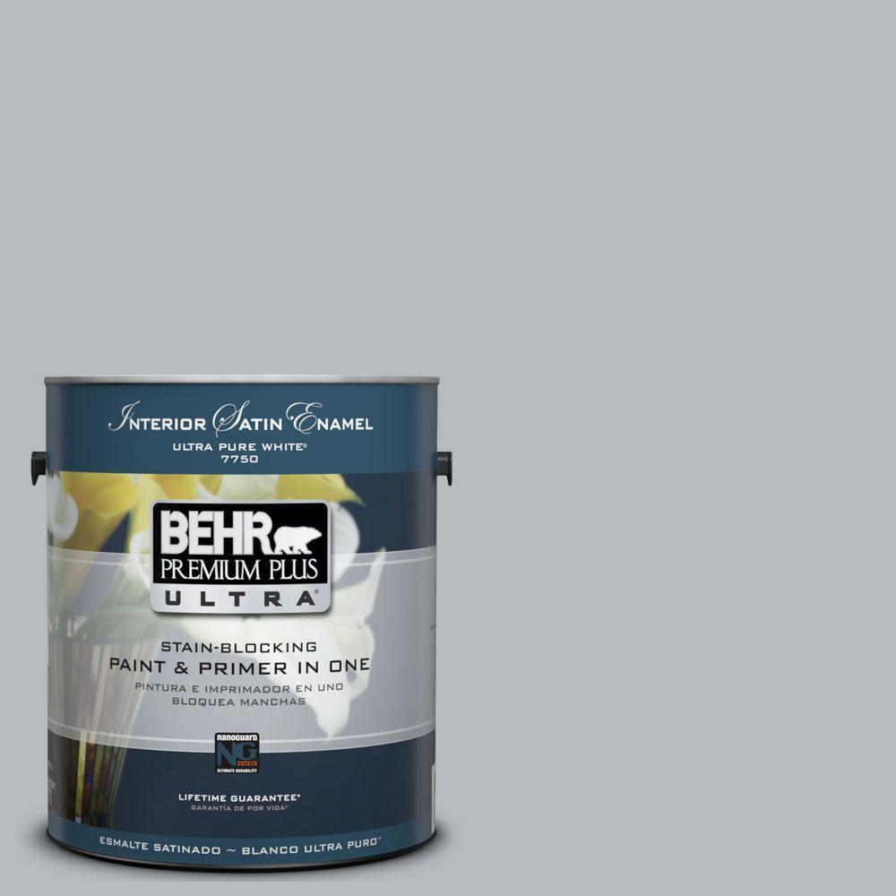 BEHR Premium Plus Ultra 1-Gal. #UL260-19 French Silver Interior Satin Enamel Paint