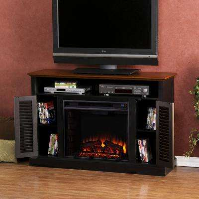 Gabriella 48 in. Freestanding Media Electric Fireplace TV Stand in Black with Walnut